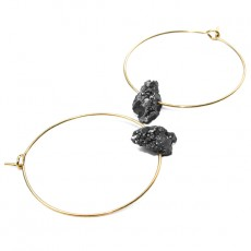 Theodora Gabrielli earrings plated fine gold tinted rock crystal grey