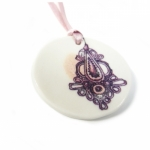 Collier Porcelaine ruban rose Lilakacemi