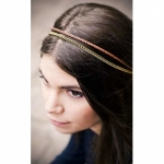 CORALIE DE SEYNES headband gilded brown leather