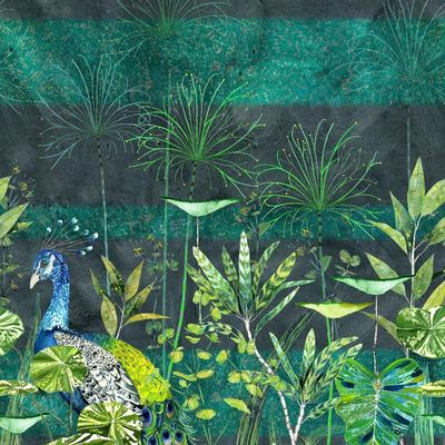Designers Guild wallpaper Arjuna Leaf with Peacock viridian