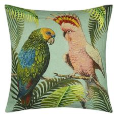 John Derian coussin Parrot and Palm Azure