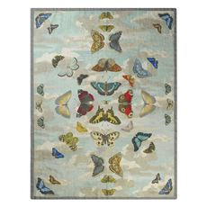 John Derian throw Mirrored Butterflies sky