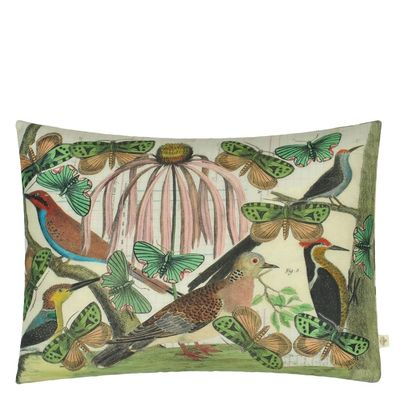 John Derian coussin Floral Aviary Parchment