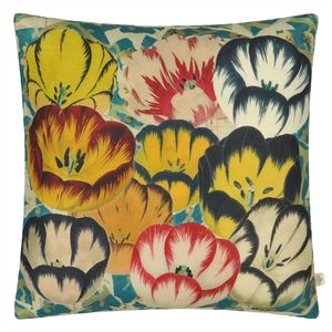 John Derian cushion Tulips Cobalt