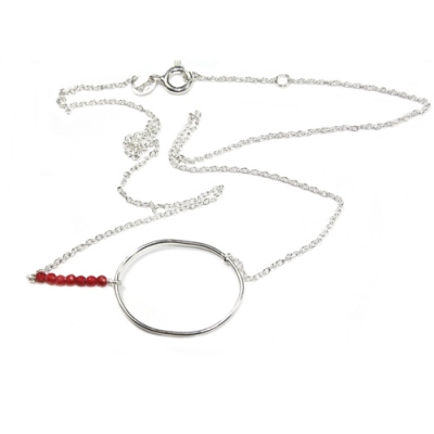 Louise Hendricks collier My Sea argent/quartz cherry