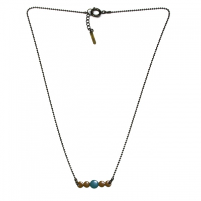Les Femmes à Barbes Necklace Pop bicolor Moutarde/Green Blue