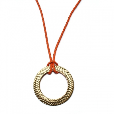 CORALIE DE SEYNES long necklace Double face Orange Doré