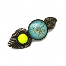 Julie Sion bobby pin Passion turquoise blue and lemon