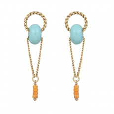 Julie Sion earrings Ring longue turquoise
