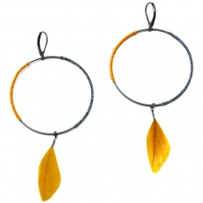 Theodora Gabrielli earrings Massaï L silver/ocre