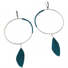 Theodora Gabrielli earrings Massaï L silver/petrole