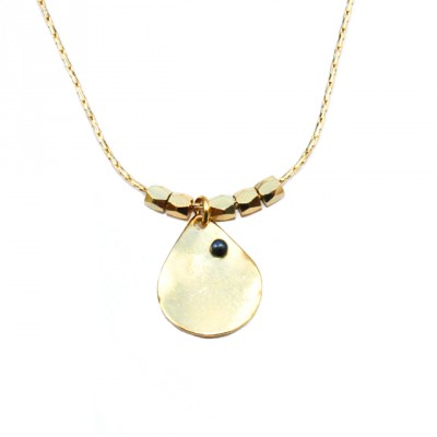 Theodora Gabrielli necklace plated fine gold hematite grey
