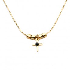 Theodora Gabrielli necklace cross plated fine gold black onyx