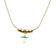 Theodora Gabrielli necklace cross plated fine gold turquoise