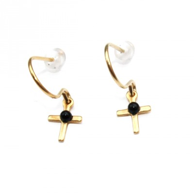 Theodora Gabrielli little earrings cross plated fine gold black onyx