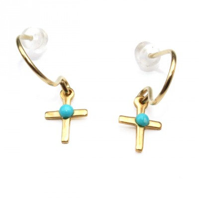 Theodora Gabrielli little earrings cross plated fine gold turquoise