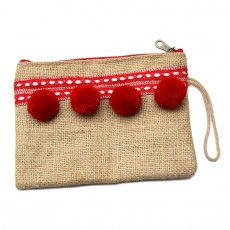 Collection CAPSULE VOYAGE handkerchief in hessian with red pompoms