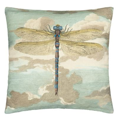 John Derian coussin Dragonfly Over Clouds Sky Blue