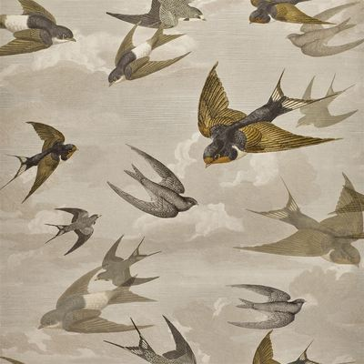 John Derian papier peint Chimney Swallows Sepia