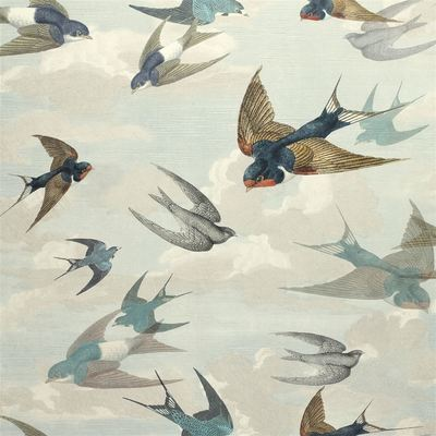 John Derian Chimney Swallows Sky Blue wallpaper