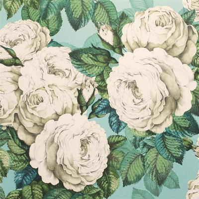 John Derian The Rose swedish blue wallpaper