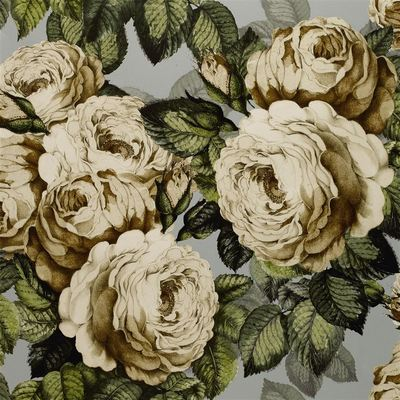 John Derian papier peint The Rose steel