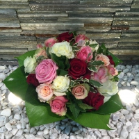 Bouquet de 30 roses multi color ton pastel