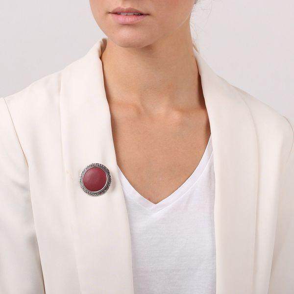 Broche Nature Leather bordeau