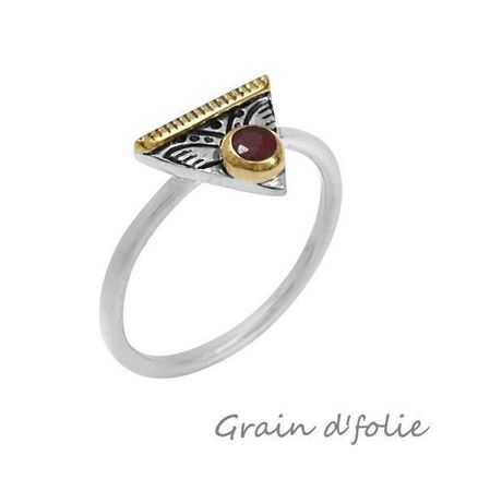 Bague Canyon en argent 925 triangle silimante rouge