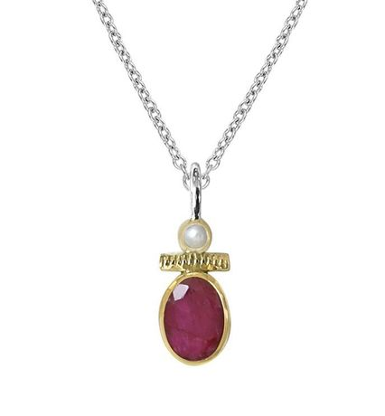 Collier Canyon en argent 925 Pierre silimanite rouge