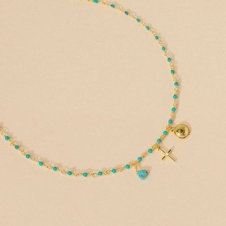 Collier Une à Une Inde multi charms turquoise