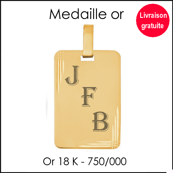 Médaille rectangle or 750/000