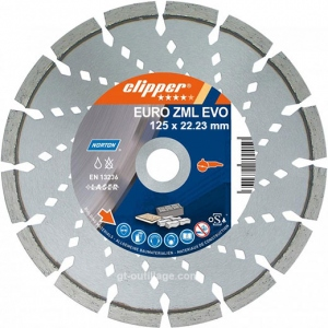 Disque diamant EURO ZML EVO 125 mm alésage 22,23 mm Norton Clipper