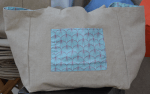 Mid-size carrier bag, plastified linen