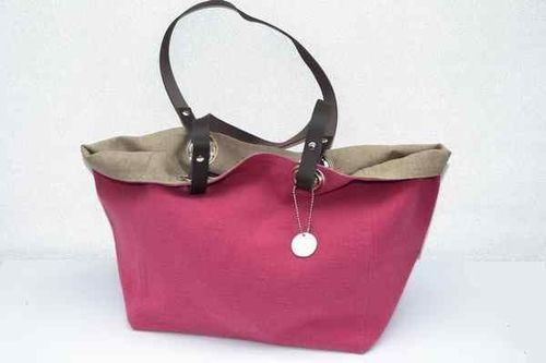 Small size carrier bag  leather handles, washed linen, raspberry