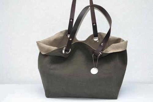 Small size carrier bag  leather handles, washed linen, dark grey
