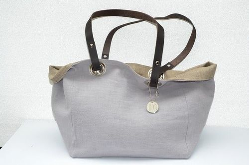 Small size carrier bag  leather handles, washed linen, pearl grey