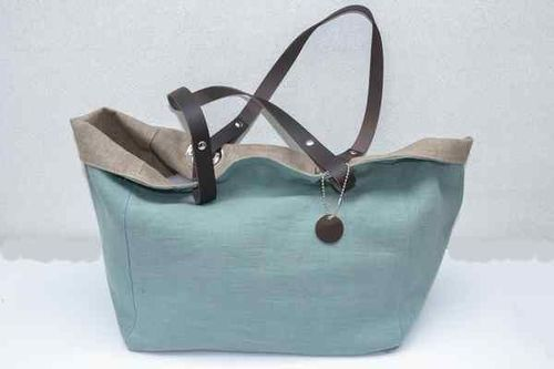 Small size carrier bag  leather handles, washed linen, celadon green