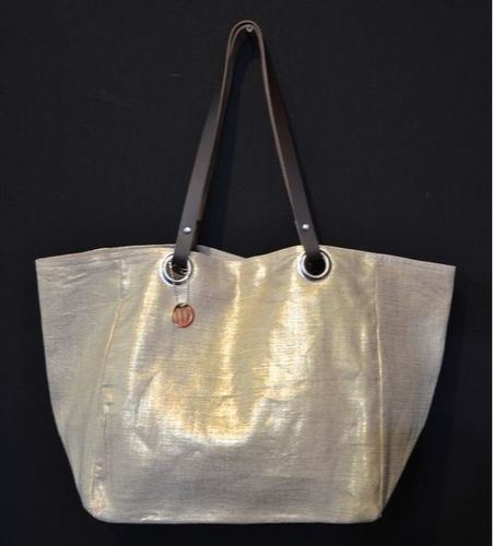 Mid-size carrier bag,  leather handles, gold lamé linen