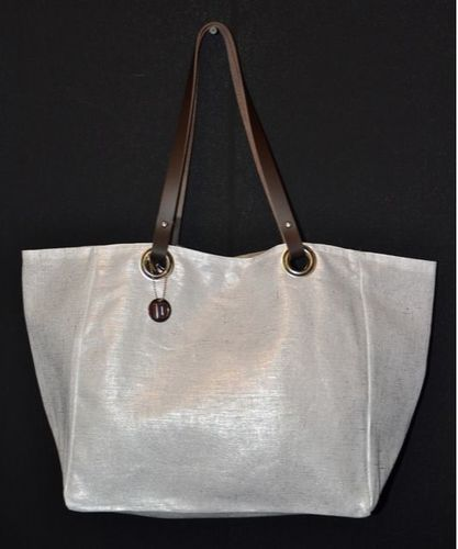Mid-size carrier bag,  leather handles, snow lamé linen