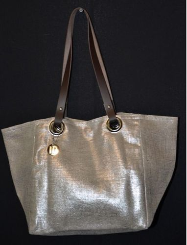 Small-size carrier bag,  leather handles, silver lamé linen