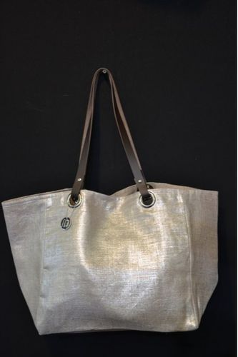 Small-size carrier bag,  leather handles, gold lamé linen