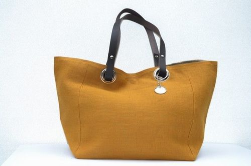 Small size carrier bag  leather handles, washed linen, copper