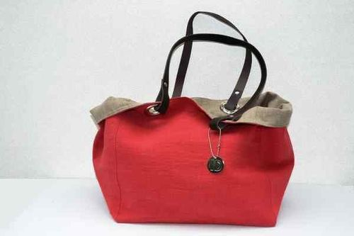 Small size carrier bag  leather handles, washed linen, tomato red