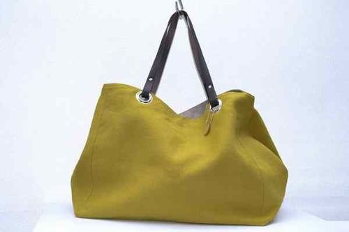 XXL carrier bag  leather handles, washed linen, curry