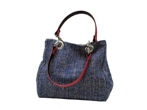 Small-size carrier bag,  1 set of 2 stiched leather handles, ocean-colored tweed