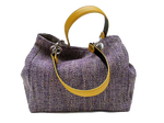 Small-size carrier bag,  1 set of 2 stiched leather handles, lavander-colored tweed