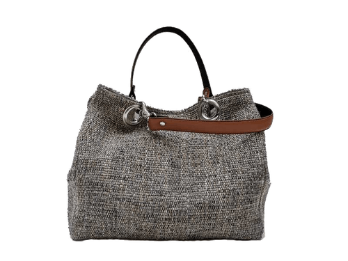 Small-size carrier bag,  1 set of 2 stiched leather handles, stone-colored tweed
