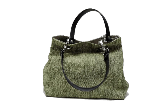 Small-size carrier bag,  1 set of 2 stiched leather handles, prairie colored tweed
