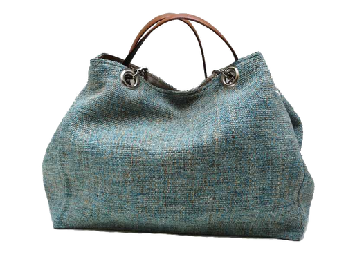 XXL carrier bag,  1 set of 2 stiched leather handles, lagoon colored tweed